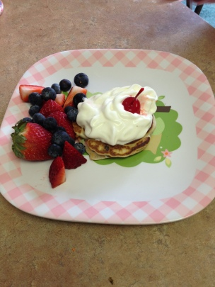 Blueberries and Strawberries With Pancakes