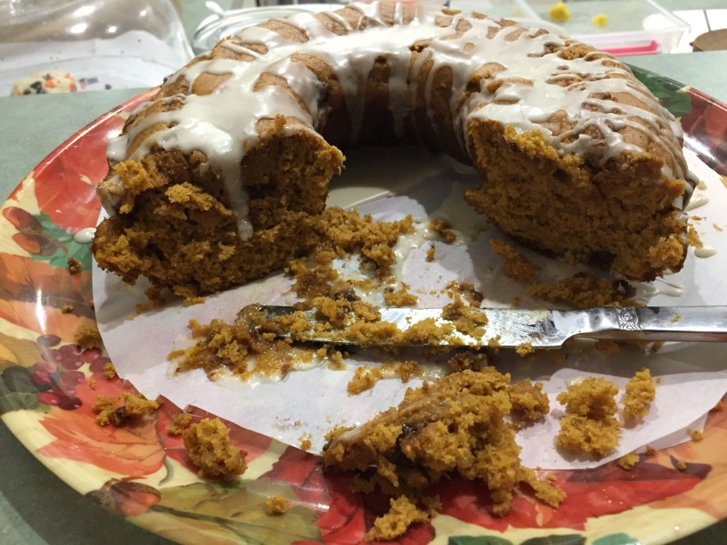 Pumpkin Chocolate Chip Bundt Cake With Vanilla Ice Glaze